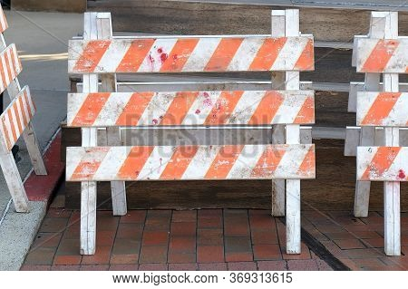 Wooden Barricade For Construction Area On The Construction Site