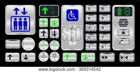 Elevator Button With Braille Sign Isolated On Black, Silver Metal Elevator Logo Modern, Set Of Eleva