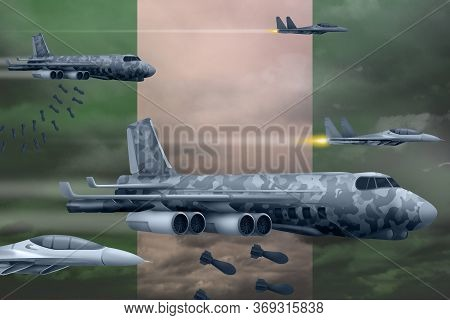 Nigeria Bomb Air Strike Concept. Modern Nigeria War Airplanes Bombing On Flag Background. 3d Illustr