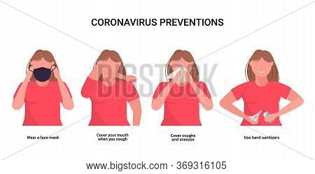Woman Explain Basic Protective Measures Against Coronavirus Prevention Protect Yourself From 2019-nc