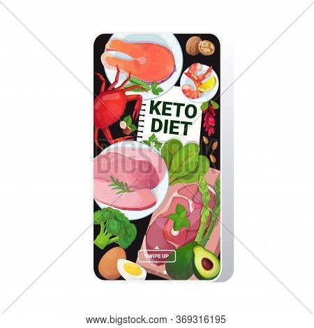 Healthy Food Keto Diet Concept Selection Of Good Fat Sources Low Carbs Products Composition On Woode