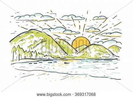 Landscape Vector Sketch Illustration With Mountains, Lake, Boat And Beach At Sunset. Summer Romantic