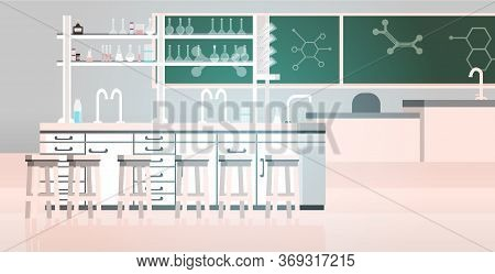 Laboratory Chemical In Science Classroom Interior Of University College Empty No People Lab With Fur