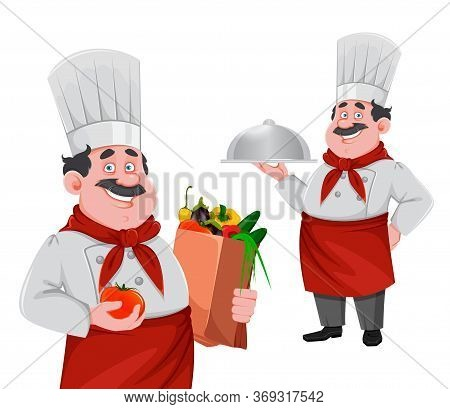 Handsome Chef Cartoon Character, Set Of Two Poses. Cheerful Cook In Professional Uniform Holding Pap