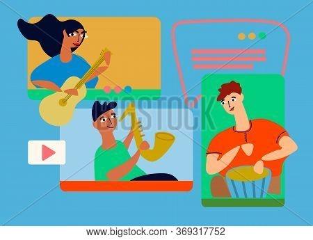 Musical Band Making Online Performance Using Video Conferencing Platform. Home Concert Online. Video