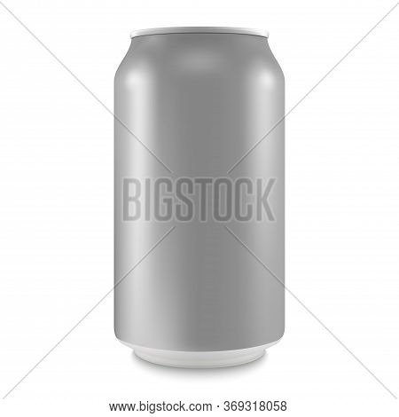 Aluminum Can Of The Empty Layout For Your Design. Bank Of Carbonated Water. Tasty Drink, Can Lemonad