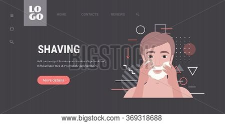 Handsome Man Shaving Face With Foam Skin Care Concept Horizontal Copy Space Portrait Vector Illustra