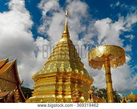 Wat Phra That Doi Suthep Is Tourist Attraction Of Chiang Mai, Thailand.asia. Images For Commercial U