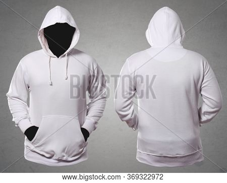 Set Of Stylish White Hoodie Sweater With Anonymous Black Manequin On Grey Background, Front And Back
