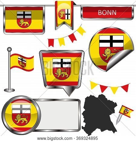Vector Glossy Icons Of Flag Of Bonn City, Germany On White