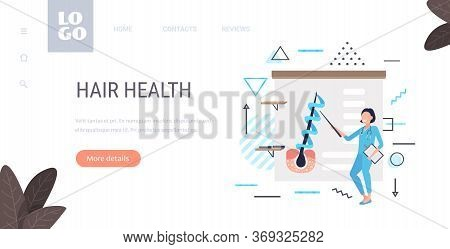 Dermatologist Explaining Hair Follicle Structure Keratin Strengthening Treatment Presentation Health