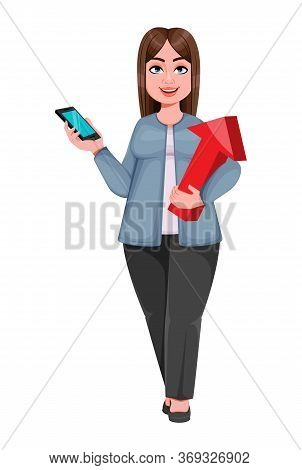 Happy Large Business Woman, Woman Of Plus Size Holding Smartphone And Arrow. Cheerful Chubby Busines
