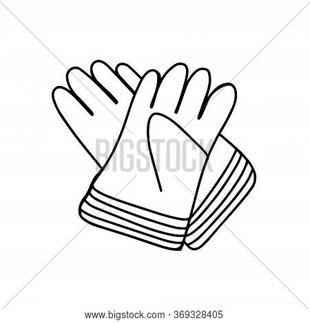 Garden Gloves Isolated On A White Background. Gloves For Garden Works. Gloves For Transplanting Plan
