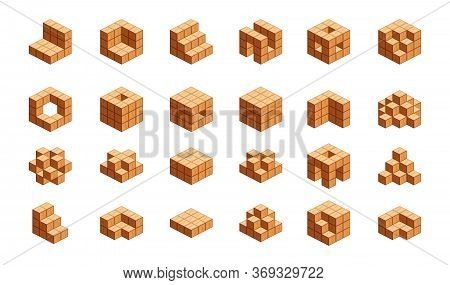 Wooden Cubes Isometric For Children Learning, Wood Cubes Sample With Different Isolated On White, 3d