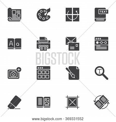 Editorial Design Vector Icons Set, Modern Solid Symbol Collection, Filled Style Pictogram Pack. Sign