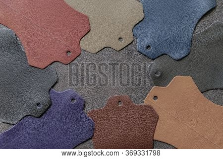 Multicolored Leather Samples On Dark Leather, Abstract Background, Choice Of Colors, Shades Color. T