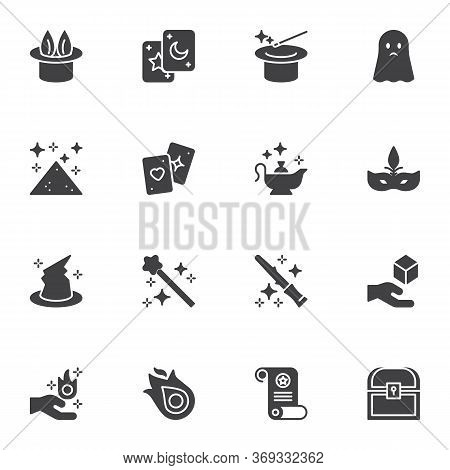 Magic Related Vector Icons Set, Modern Solid Symbol Collection, Filled Style Pictogram Pack. Signs,