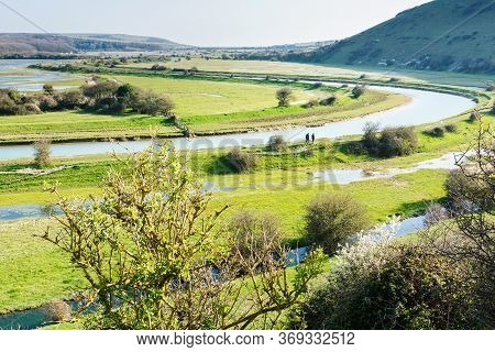 Views Of Cucmere River Near Seaford And Eastbourne, East Sussex Near High And Over Viewing Point, Fc