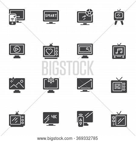 Television Vector Icons Set, Tv Screen Modern Solid Symbol Collection, Filled Style Pictogram Pack.