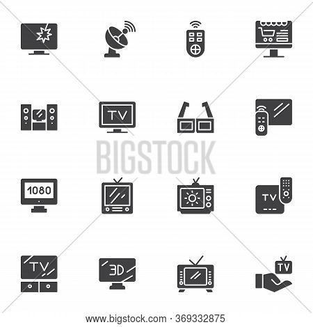 Television Screen Vector Icons Set, Modern Solid Symbol Collection, Filled Style Pictogram Pack. Sig