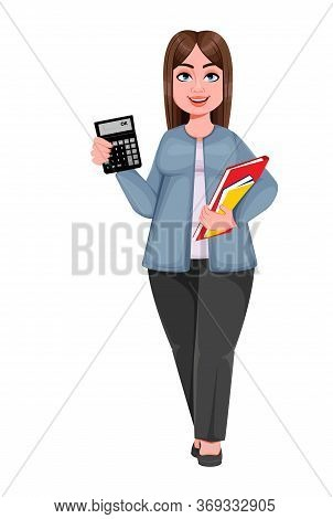 Happy Large Business Woman, Woman Of Plus Size. Cheerful Chubby Businesswoman Cartoon Character. Vec
