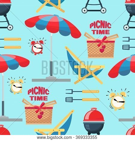 Picnic Time. Summer Beach Picnic, Grill, Barbecue, Parasol. Vector Template With Various Special Too