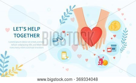 Lets Help Together Concept With A Red Heart In Helping Hands Surrounded By Charitable Donation Icons