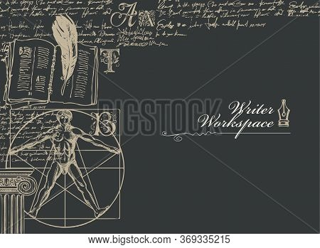 Writer Workspace. Vector Banner On A Writers Theme With Sketches And Place For Text On A Black Backg