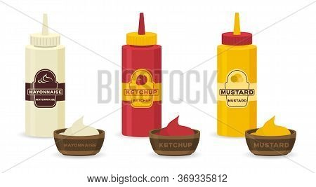 Set Of Different Bottles With Sauces - Ketchup, Mustard, Soy, Wasabi, Mayonnaise, Bbq In Flat Design
