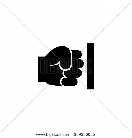 Strength Fist Punched Wall, Power Hand. Flat Vector Icon Illustration. Simple Black Symbol On White