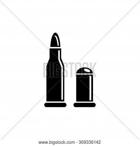 Pistol And Rifle Bullets, Gun Ammunition. Flat Vector Icon Illustration. Simple Black Symbol On Whit