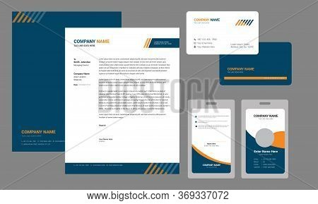 Modern Corporate Brand Identity Set With Letterhead, Business Card, Identity/id Card Vector Template