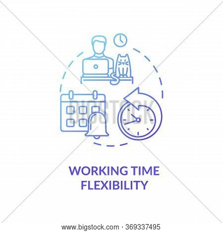 Working Time Flexibility Blue Gradient Concept Icon. Freelancer Benefit. Time Management. Remote Pos