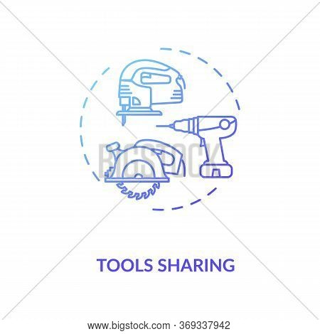 Tools Sharing Blue Gradient Concept Icon. Variety Of Instruments For Building. Collaborative Work On