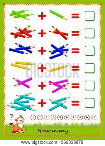 Educational Page For Little Children On Addition. Solve Examples, Count The Quantity Of Pencils And