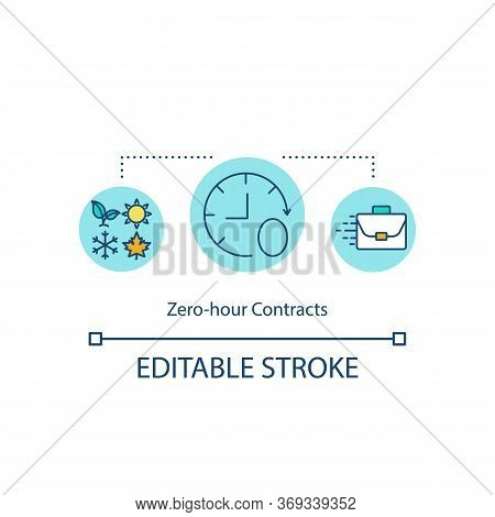 Zero Hour Contract Concept Icon. Occupation For Short Period. Recruitment For Project. Part Time Wor