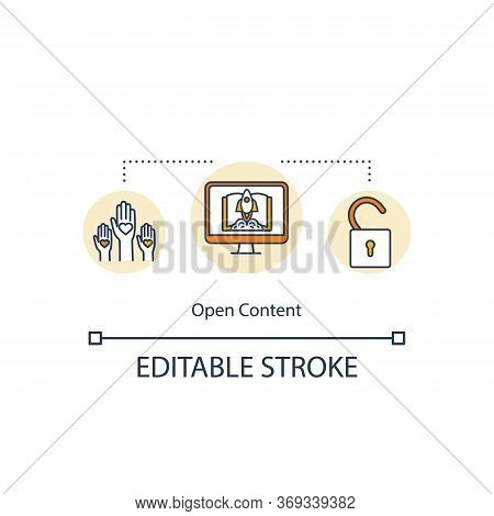 Open Content Concept Icon. Publish Testimonial For Audience. Social Media Community. Open Source For