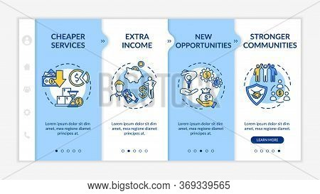 Sharing Economy Advantages Onboarding Vector Template. Collaborative Consumption, P2p Business Benef