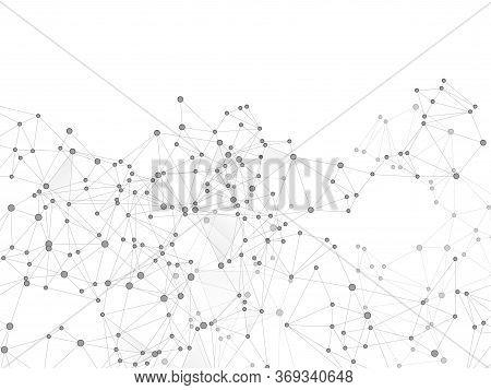 Geometric Plexus Structure Cybernetic Concept. Network Nodes Greyscale Plexus Background. Net Grid O