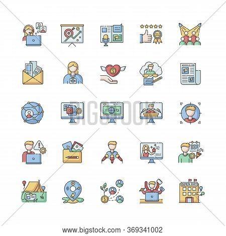 Pr Marketing Rgb Color Icons Set. Brand Image. Corporate Identity. Company Employment. Public Relati