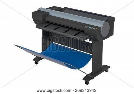 Wide Format Printer, Plotter. 3d Rendering Isolated On White Background