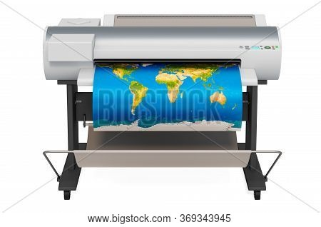 Wide Format Printer, Plotter With Map Of World. 3d Rendering Isolated On White Background