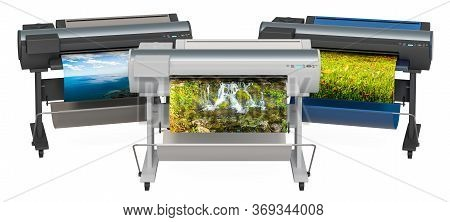 Wide Format Printers, Plotters. 3d Rendering Isolated On White Background