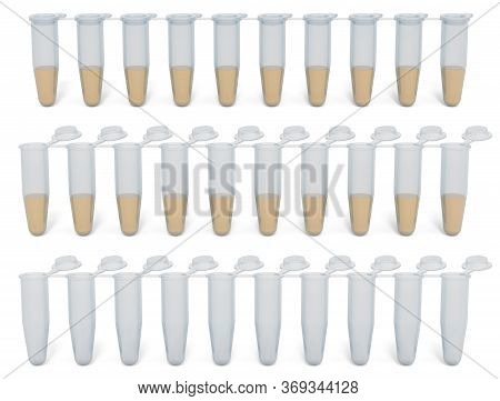 Pcr Tubes Attached Lids. Opened Lids, Closed And Pcr Tubes Lids With Samples. 3d Rendering Isolated