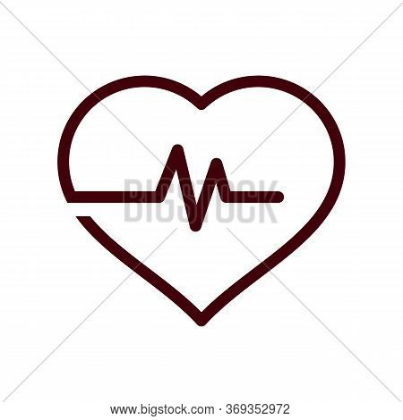 Heart Shape With Beats Line Icon Isolated On White Background From Body Parts Collection. Heart Shap
