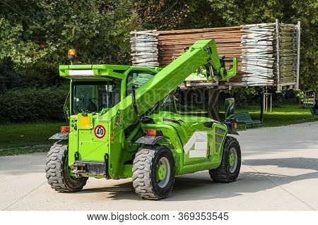 Telescopic Handler, Forklift Truck With Cargo On The Road