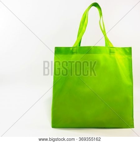Green Bag For Go Shopping.no Plastic Bag Shopping Bag Concept On The White Blackground. Images For C