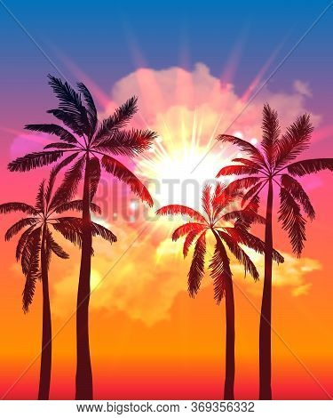Palm Silhouettes On Summer Sunset With Beautiful Sky Background. Tropical Sunset, Summer Paradise. V