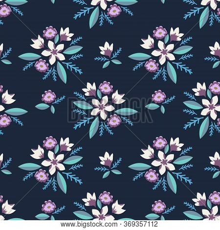 Seamless Pattern With Decorative Roses And Daisy Flowers