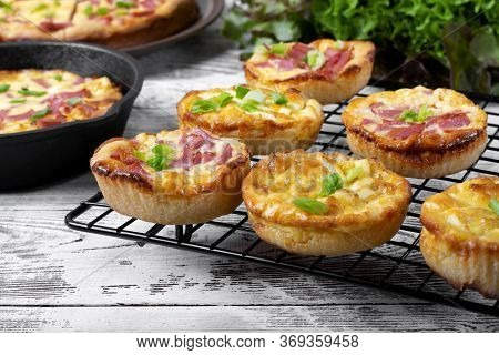 Belarusian Pie, Smazhenka, With Sausage, Egg And Topped With Green Onion